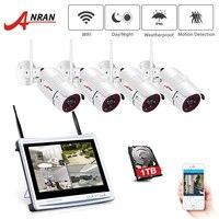 ANRAN 12 дюймов ЖК-экран 1080P 4CH wifi NVR комплект HD 2MP открытый wifi IP Беспроводная система безопасности Водонепроницаемая видеокамера