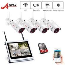 ANRAN 12 นิ้ว LCD หน้าจอ 1080P 4CH WIFI NVR Kit HD 2MP กลางแจ้ง WiFi IP Wireless Security กล้องระบบบันทึกภาพวิดีโอ