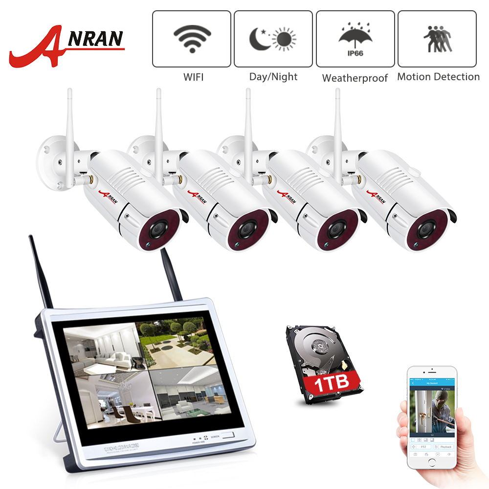 ANRAN 12Inch LCD Screen 1080P 4CH WIFI NVR Kit HD 2MP Outdoor WiFi IP Wireless Security Camera System Waterproof Video Recorder