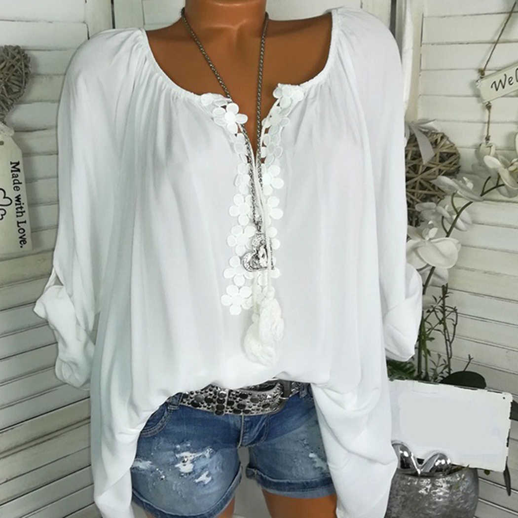 c30ee157f236be ... 4XL Plus Size Womens Tops And Blouses Fashion Off Shoulder Lace Floral  Loose Ladies Shirts V ...
