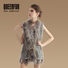 QUEENFUR 2016 New Women Genuine Rabbit Fur Vest Lady Warm Raccoon Fur Collar Waistcoats Fashion Natural Knitted Fur Gilet