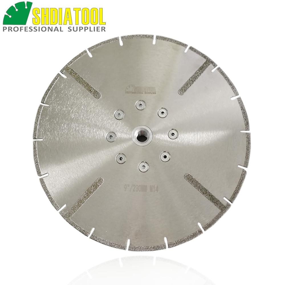 SHDIATOOL 1pc Dia 230mm M14 Flange Electroplated Reinforced Diamond Cutting Disc 9 Inches Coated Marble Blade Diamond Wheel