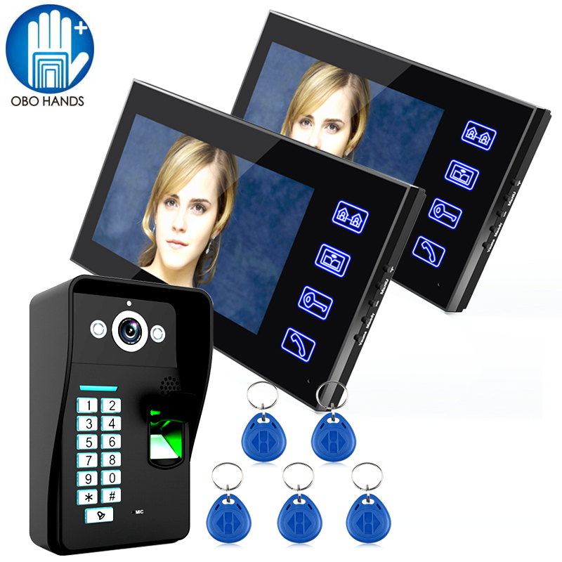 7 TFT LCD Screen Wired Video Door Bell System Set One to Two Video Doorphone with RFID Tag 816AMJF12 for Home Security 7 inch video doorbell tft lcd hd screen wired video doorphone for villa one monitor with one metal outdoor unit rfid card panel