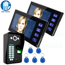 7″ TFT LCD Screen Wired Video Door Bell System Set One to Two Video Doorphone with RFID Tag 816AMJF12 for Home Security