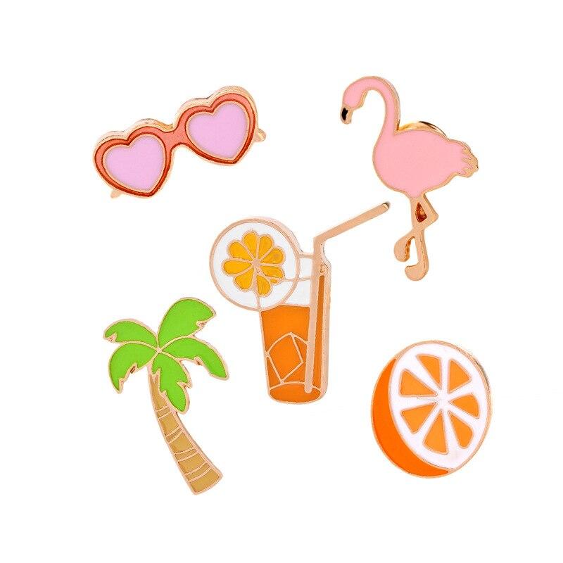 Fashion Cool Summer Brooch Jewelry Pink Swan Coconut trees Orange juice Lemon Heart shaped Sunglasses Cute Women Brooch Pins