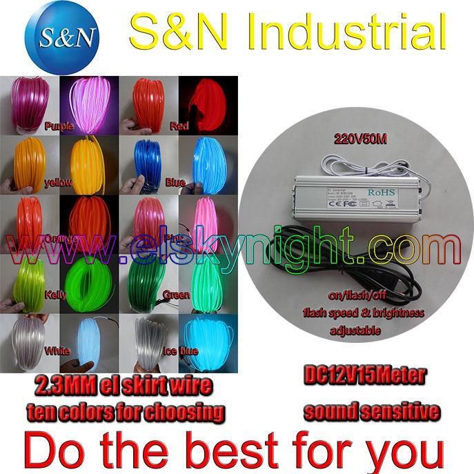 dhjetë ngjyra 2.3MM 50 M Tufë elastike elastike Wire Tube Neon Light & 100-240VAC inverter për pushime, festa, festivali dhe dekorimi i shtëpive