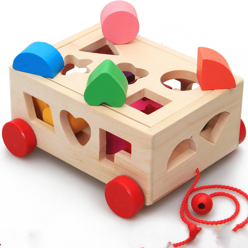 Multi function Drag Hole Intelligence Box Shape Matching Trailer Children Puzzle Wooden Toy