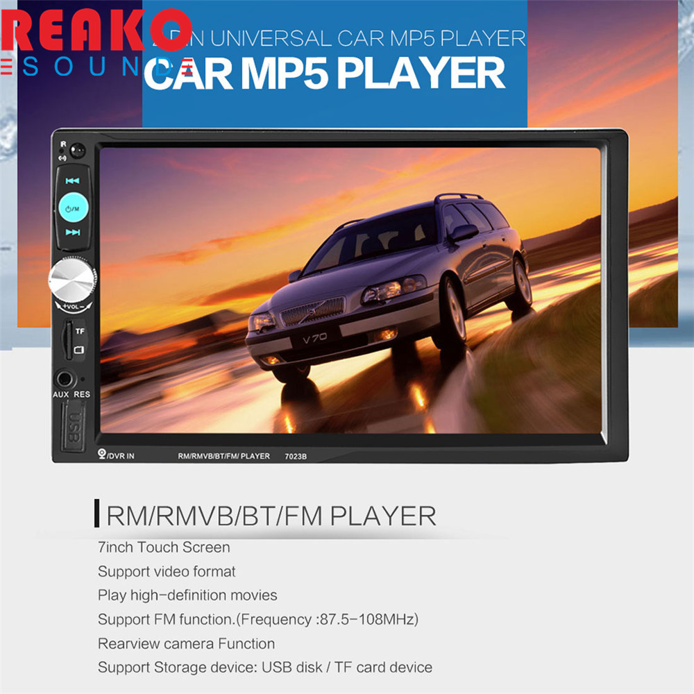2 Din 7 Inch HD Touch Screen Car Radio Stereo Bluetooth / AUX / SD / FM / USB MP5 Player Support Hands-free Calls 7 hd bluetooth touch screen car gps stereo radio 2 din fm mp5 mp3 usb aux z825