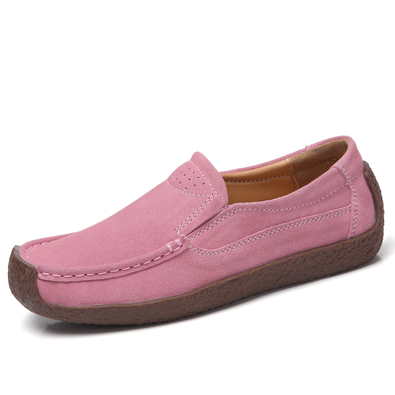 LeFoche Women Spring Large Size 6-Color Genuine   Leather     Suede   Shllow Casual Slip-On Flat Snail Peas shoes
