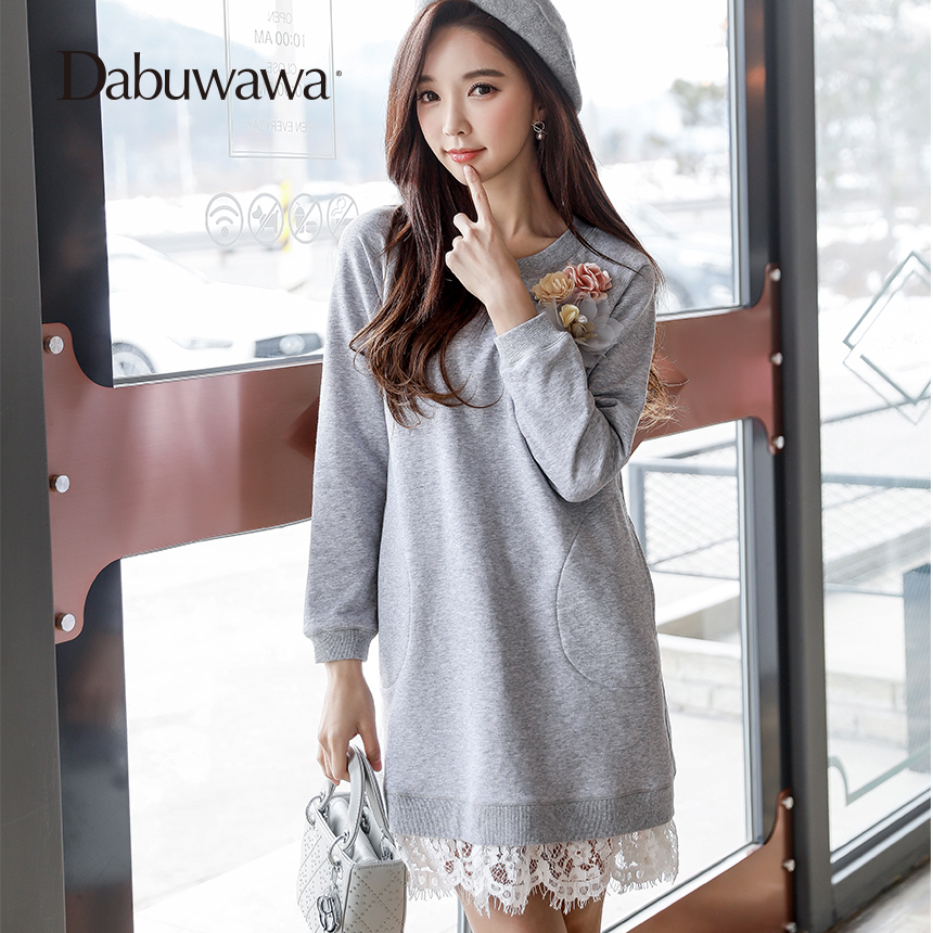 Dabuwawa Grey Spring Lace Knitting Long Sleeve Hoodies O neck Pullovers Cotton A Line Long Hoodies Sweatshirts