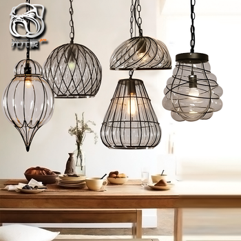 Loft Crystal Clear Dysmorphism Glass Iron Light Ceiling Lamp Cafe Dining Bar