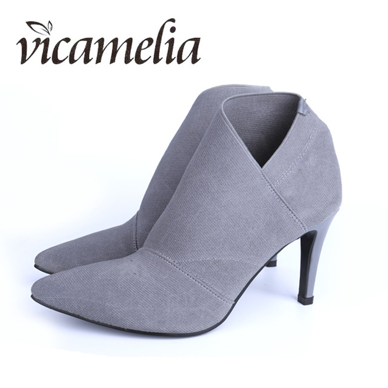 Vicamelia Women Pointed Toe Boots Thin High Heel Fashion European Style Leather Stitching Ankle Boots Slip On Size 34-41 113