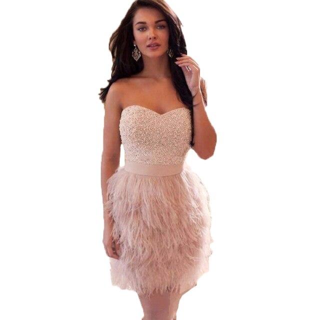 7466192df723c Moda 2017 sexy feather dress cocktail corto de color rosa con cuentas de  baile 2016 vestidos