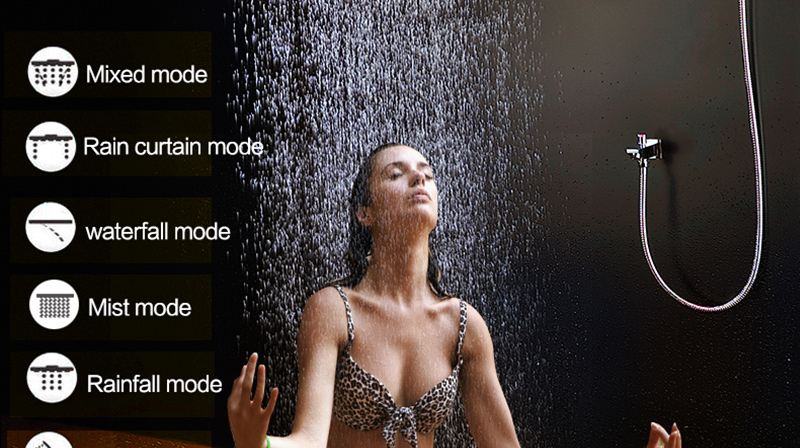 Luxury Led Rain Shower Head Large Rain LED Shower Set with Waterfall Shower Head with Embedded Ceiling 600x800 Rainfall Spout (6)