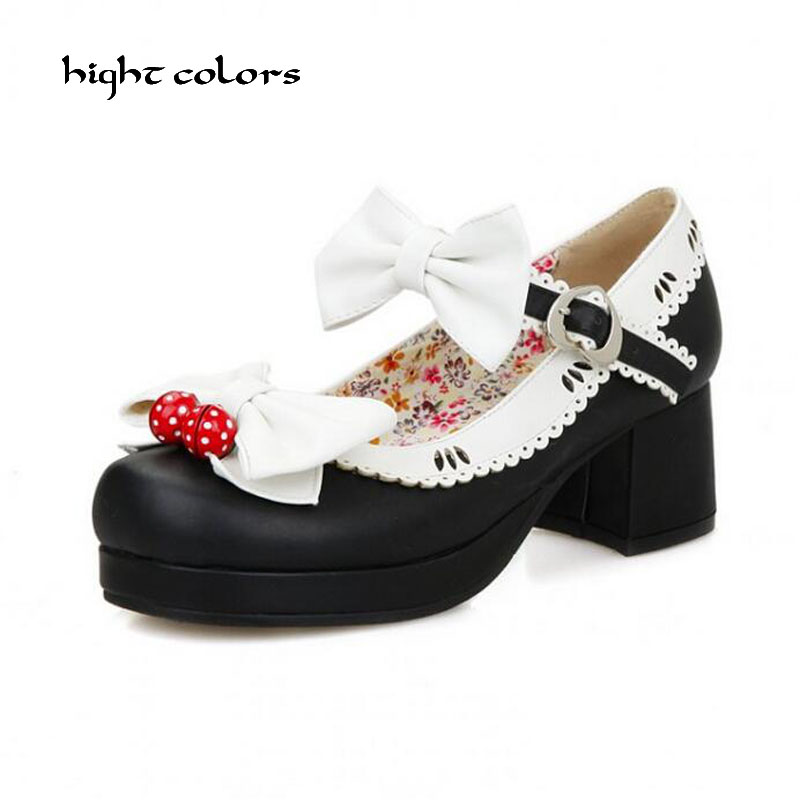 Women High Heel Lolita Pumps Design New 2019 Ladies Bow Shoes Square Ankle Buckles Japanese Style
