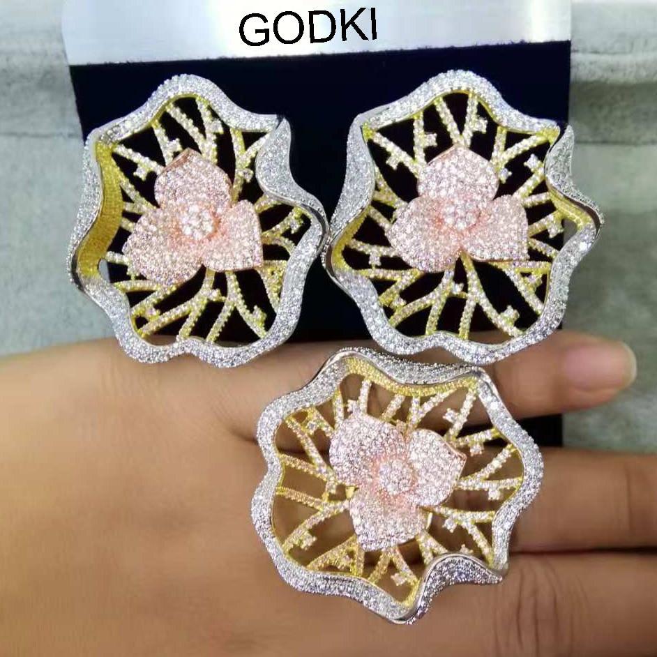 GODKI Trendy Famous Brand Luxury Hollow Flower Cubic Zironia Earring Ring Jewelry Set For Women Wedding