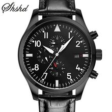 Automatic Self-Wind Mechanical Wristwatches Military Watches For Men Business Men Watch Black Leather Band Barcelet Reloj Hombre
