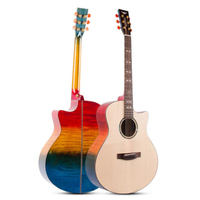 41 inch choose pickup Okoume Spruce Solid Top electro acoustic guitar performance wooden guitar Flame light colors folk guitar