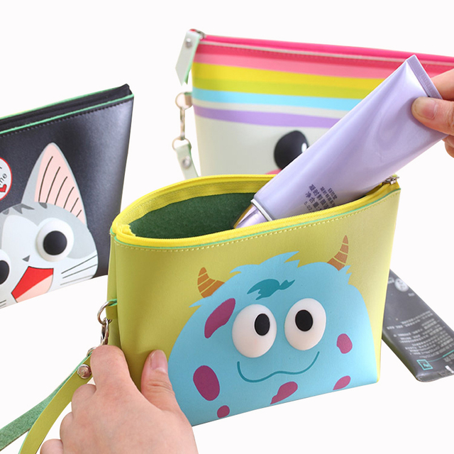 b4af733421 Women Cute Cosmetic bags PU leather Waterproof Clutch make up pouch cases  Women s makeup kit wash bag make-up drop shipping