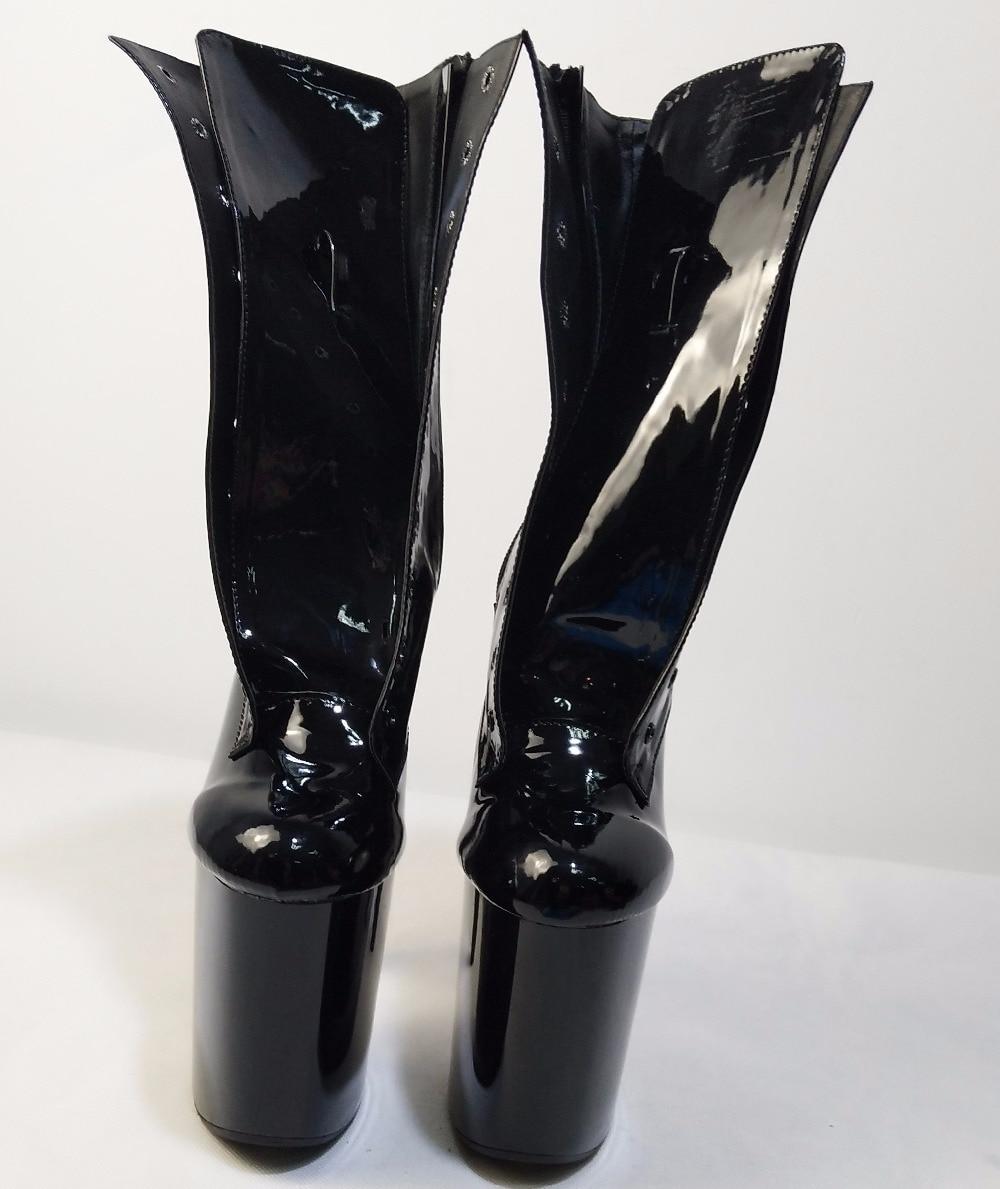 Mode sexy chevalier femme 8 pouces haut talon plate-forme bottines pour les femmes automne hiver chaussures 15-20cm noir pôle danse bottes - 3