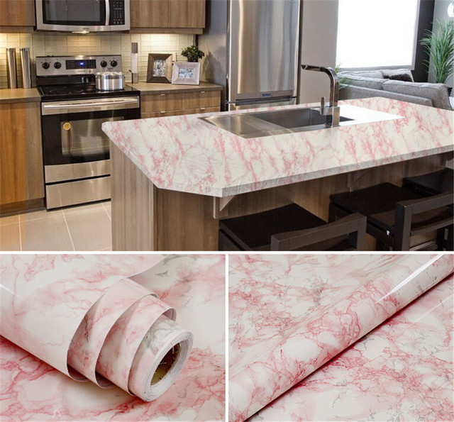 Car Wrap Sticker Glossy Marble DIY Vinyl Decorative Film Kitchen Cabinet  Countertop PVC Self Adhesive Wall