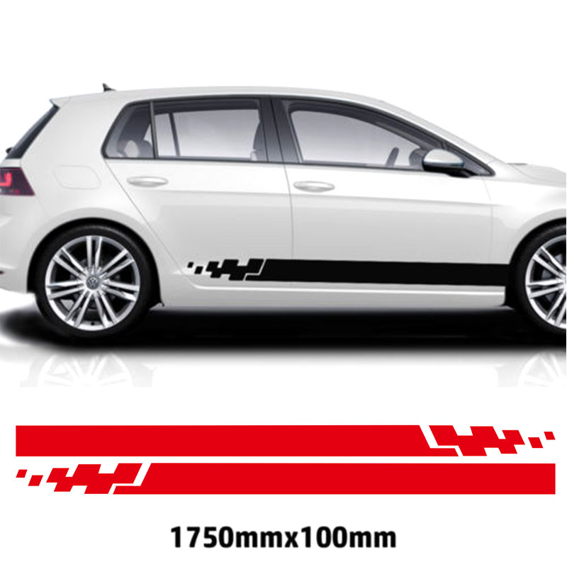 YONGXUN 2pcs FOR VW Golf Racing Stripes Stickers Decal Tuning Car Graphics Sticke DA-G56 2pcs yongxun stickers decal for alfa romeo 147 156 159 166 giulietta stripe body kit door handle guard sill da 432