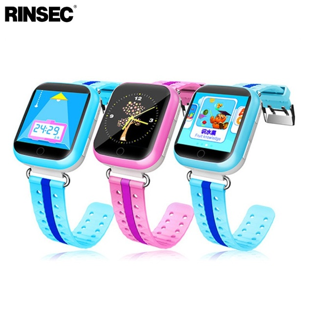 Rinsec Q750 GPS Tracker Child Smart Watch with WIFI Touch Screen SOS Call Location Device Tracker for Kid Safety Blue Pink