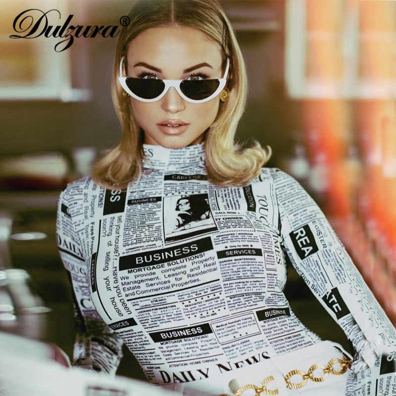 Dulzura газетный принт женский сексуальный боди 2018 Осень Зима Женский Уличная стрейч тощий газетный боди