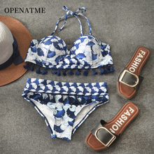 OPENATME Tassels High Waist Bikini Print Sexy Boho Swimwear Women  Halter Swimsuit Push Up Bathing Suit Brazilian Beachwear
