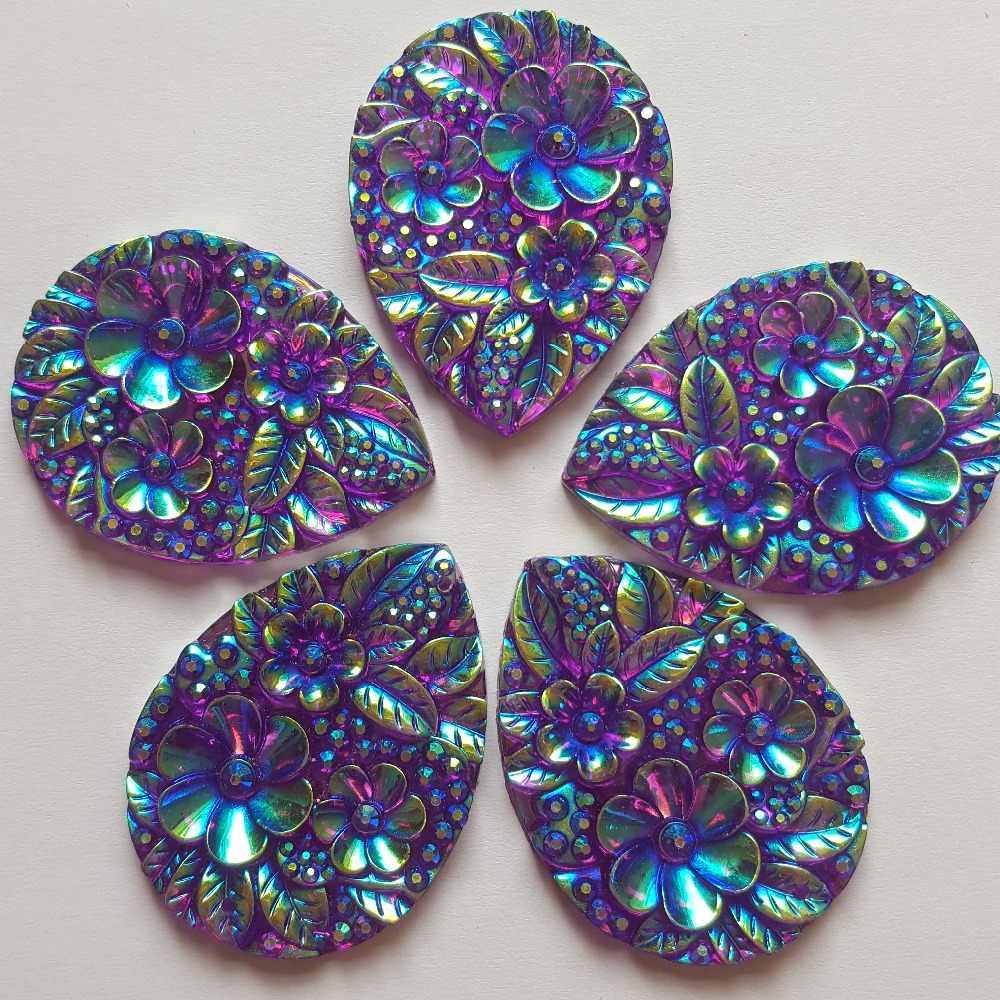15x48mm Gorgeous Amazingly Big S Shape Purple AB Sew On Rhinestones Resin Beads Stones Sewing For Wedding Dress Decorations 2 Holes 30pcs