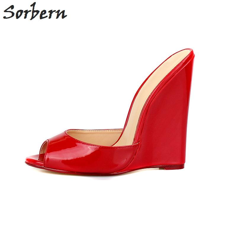 купить Sorbern Plus Size 40-46 Unisex Slippers Outdoor Extrem High Heels Peep Toe Wedge Heeled Women Slides Outside Summer Slipper по цене 5324.2 рублей