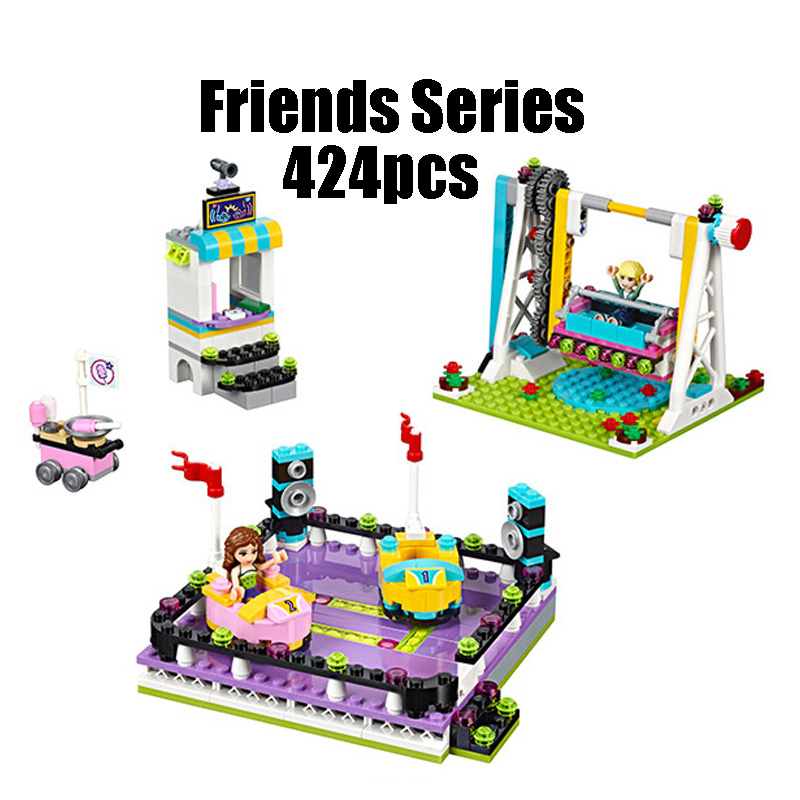 Compatible with Lego Friends 41133 Lepin 01009 424pcs building blocks Amusement Park Bumper Cars Bricks figure toys for children конструктор lego friends кондитерская стефани 41308