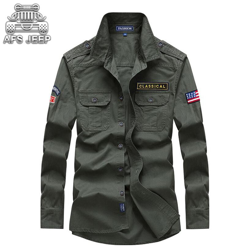 Shirts Hard-Working 2018 Mens Spring Casual Brand 100% Pure Cotton Army Green Shirts Man Autumn Khaki Long Sleeve Shirt Afs Jeep Dark Blue Clothing Goods Of Every Description Are Available Men's Clothing