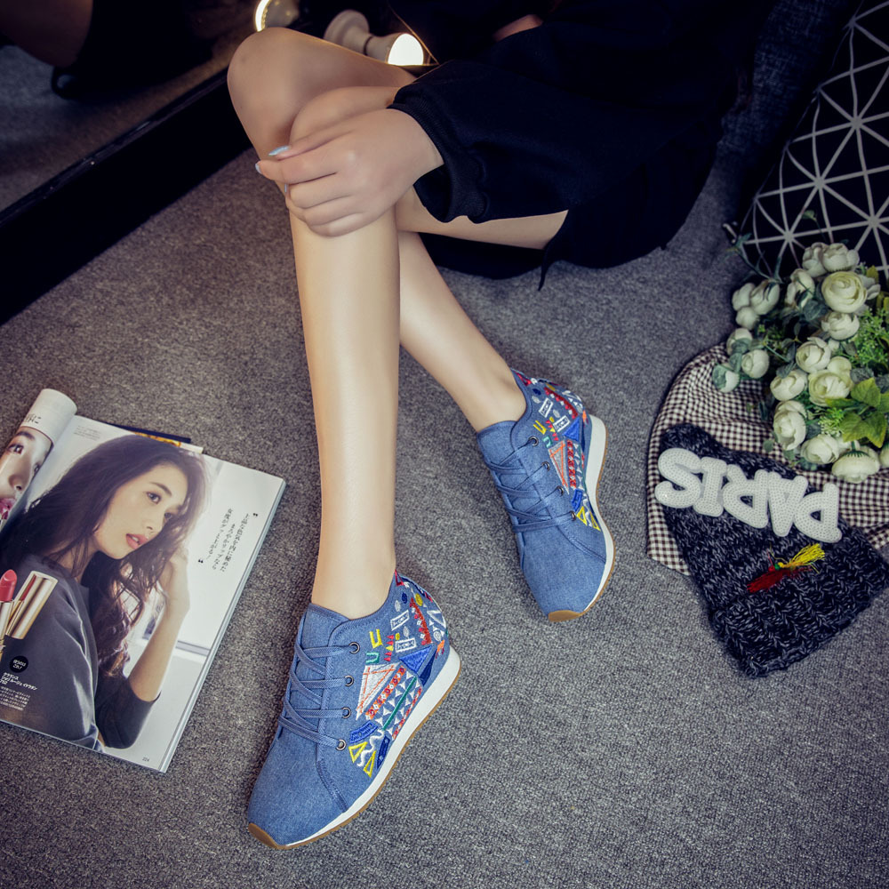 Chinese Style Women Autumn Winter Fashion Casual Lace Up Embroidery Vulcanize Shoes Female Plus Size Cloth Fabric Shoes Smink 8