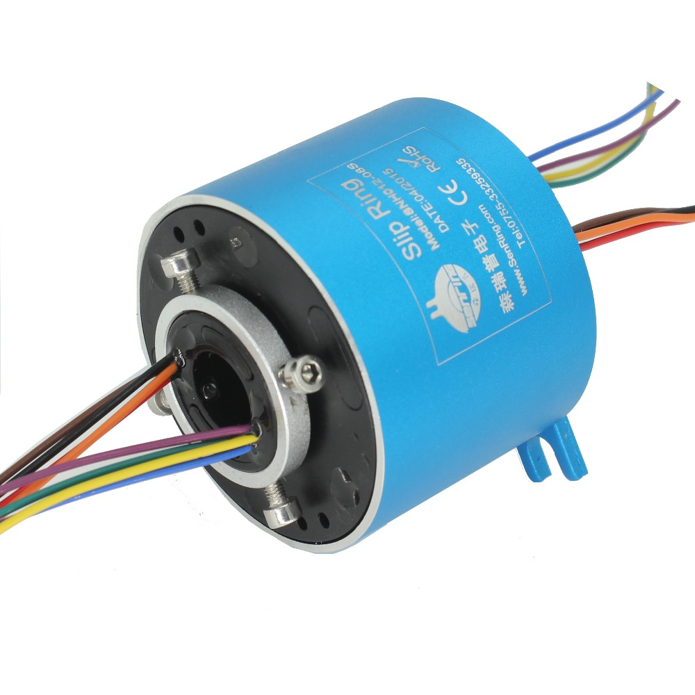 Electrical motor rotary joint 8 wires/circuits 10A with bore size 12.7mm of through hole slip ring