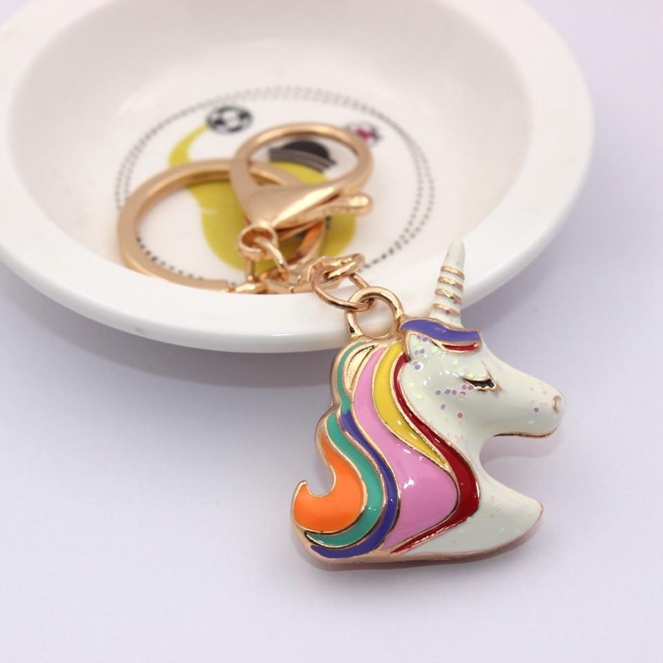 "Unicorn Keychain 1/"" Key Ring Holder Rainbow Color Key Chain Enamel Charm New"