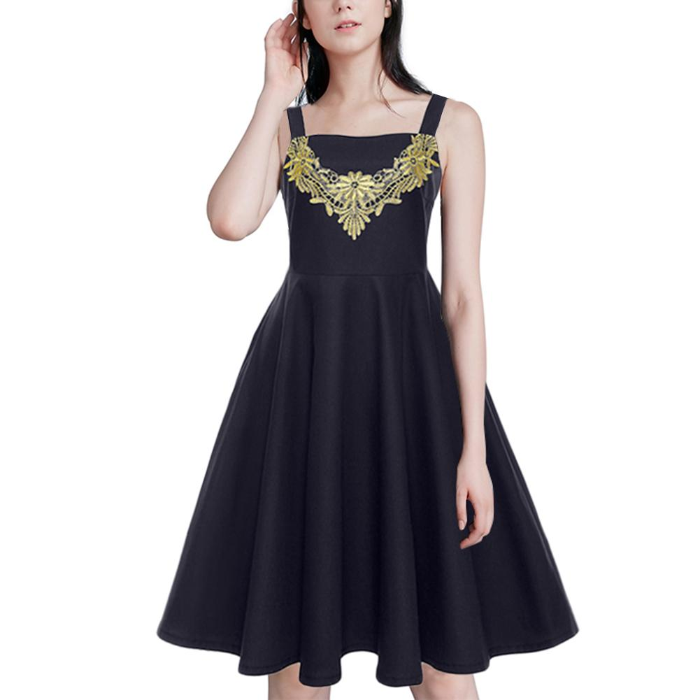 Summer Fashion Style Women Dress Vintage Style Aquare Collar Lace Piecing Solid Color Dress Ball Gown Female Vestido