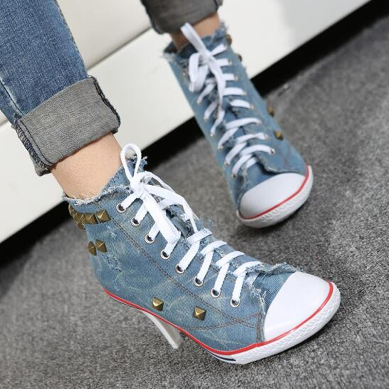 New Novelty Women Sexy Rivets Canvas High Heels Ankle Boots ,Girls Casual Jeans Denim Pumps Party Shoes 2017 spring new women sweet floral embroidery pastoralism denim jeans pockets ankle length pants ladies casual trouse top118