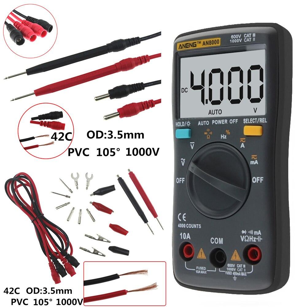 AN8000 AN8001 AN8002 AN8004 Auto Digital Multimeter Backlight AC/DC Transform Ohm Ammeter Resistance Capacitance Test auto digital multimeter 6000counts backlight ac dc ammeter voltmeter transform ohm frequency capacitance temperature meter xj23