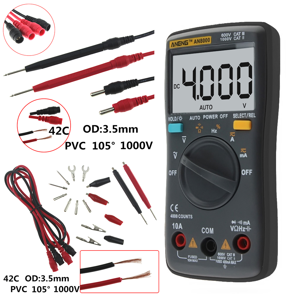 AN8000 AN8001 AN8002 AN8004 Auto Digital Multimeter Backlight AC/DC Transform Ohm Ammeter Resistance Capacitance Test