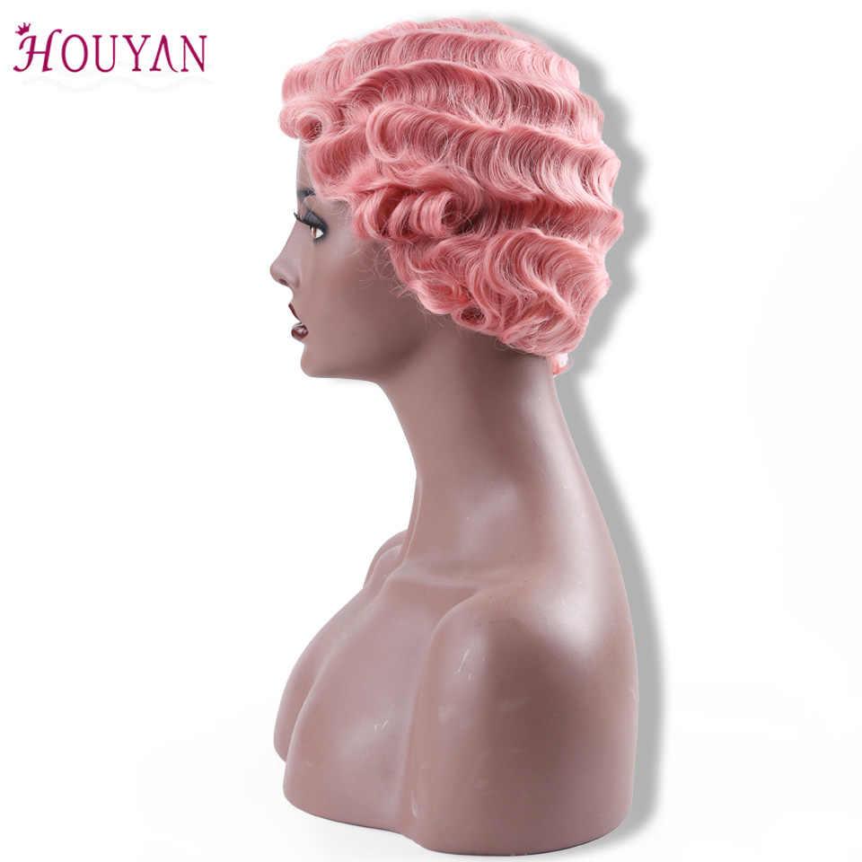 HOUYAN короткие Синтетические волосы на кружеве человеческих волос парики черный палец волны Для женщин в африканском стиле АФРО Синтетические парики для черный Для женщин короткие волосы