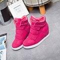2017 Novas Mulheres Sapatos Casuais Sapatos de Plataforma Cunha Botas de Couro Genuíno Altura Crescente Sapatos Botas Mulher Colorido Ao Ar Livre Respirável