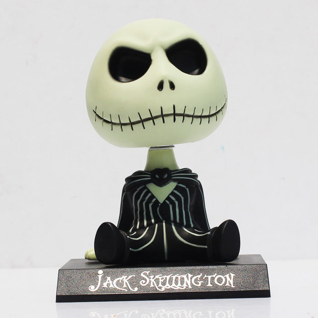 the nightmare before christmas jack moving head pvc action figure toys car accessories 10cm free shipping - The Nightmare Before Christmas Free Online