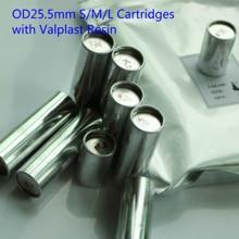 100pcs OD25.5MM S M L Size Dental Resin Cartridges K1 K2 Valplast Flexible Material Aluminum Tube with Acrylic