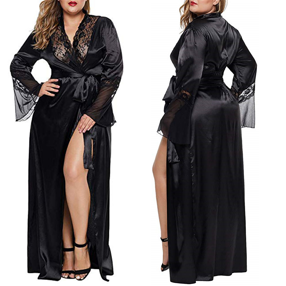 Womens Long Robe Kimono Satin Gown Lingerie Sexy Dress Plus Size