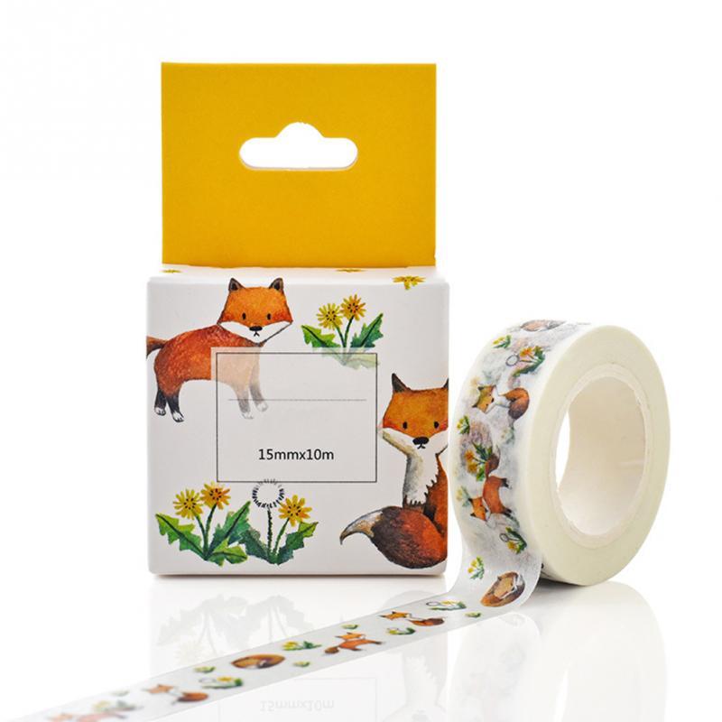 1PC 15MM*10M Box Package Cute Fox House Washi Tape Good