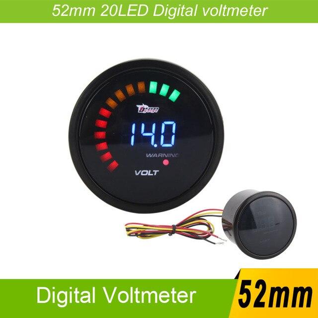car-styling 52mm  20 LED Racing Car  Digital Volt meter Volts Auto Gauge  Car Meter 8-16 Voltmeter Volt Gauge Meter Volts