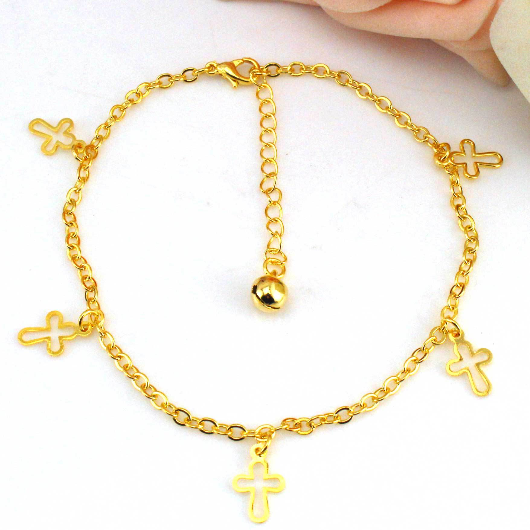cross ankle jewelry anklet plated beads gold bracelet sgs brass dangling bling az religious filled fillled
