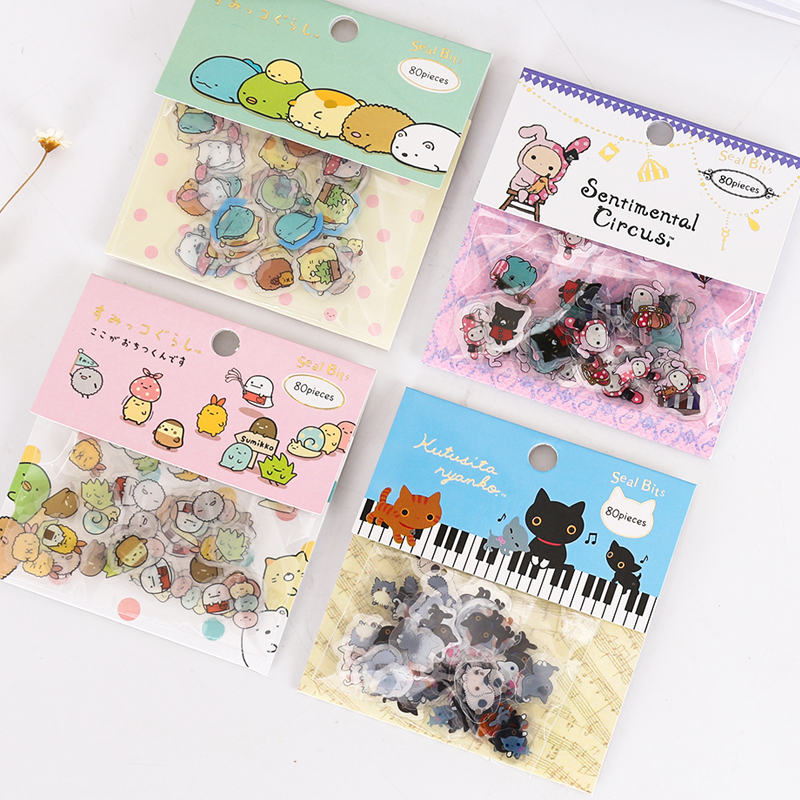 80pcs/pack Sticker Diary Scrap Book Scrapbooking Decor Decoration PVC Stationery Stickers