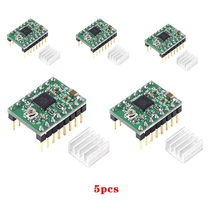 5 Pcs A4988 Stepper Motor Driver Module 3D Printer Polulu StepStick RAMPS RepRap CLH@8 deek robot 5pcs a4988 stepstick stepper driver heatsink for reprap pololu 3d printer red green z10 drop ship